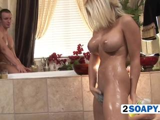 Soapy bitch is ready for a slippery fuck