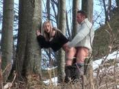 Daring European Wearing Boots Has Her Snatch Heated At Woods